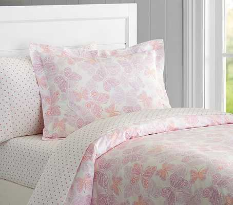 Ava Butterfly Duvet Cover- Twin - Coral - Pottery Barn Kids