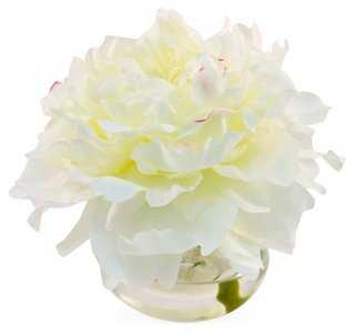 """7"""" Peony in Round Vase, Faux - One Kings Lane"""