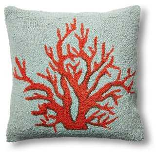 Coral 16x16 Wool Pillow, Orange - Polyester insert - One Kings Lane