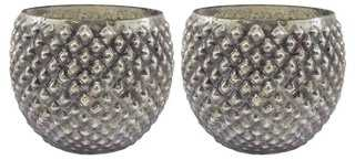 S/2 Dimpled Round Votive Holders, Gray - One Kings Lane