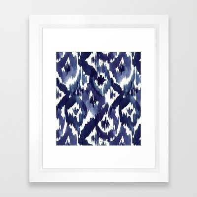 "Indigo Blue Ikat - 10"" X 12"" - Framed - Society6"