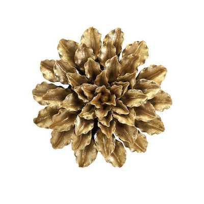 Agatha Gold Leaf Porcelain Wall Flower - Overstock