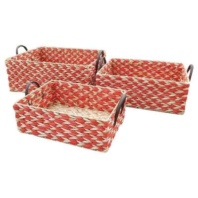 2 Tone 3 Piece Rush Basket Set - Red - Wayfair