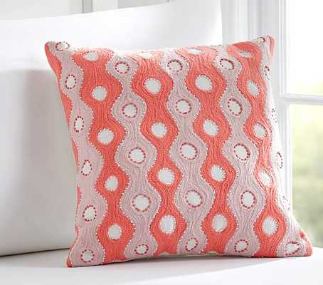 """Wavy Embroidered Decorative Pillow-15 x15"""" -with insert - Pottery Barn Kids"""