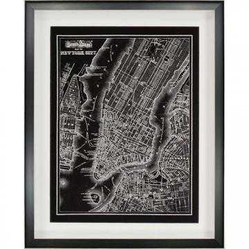 "MAP OF NEW YORK 1895 WALL ART - 30""Hx24""Wx2""D - framed - Home Decorators"