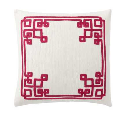 """SIMONE EMBROIDERED PILLOW COVER- 18"""" sq- Pink, No Insert - Pottery Barn"""