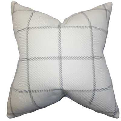 Wilmie Plaid Gray White Feather Filled 18-inch Throw Pillow - Overstock