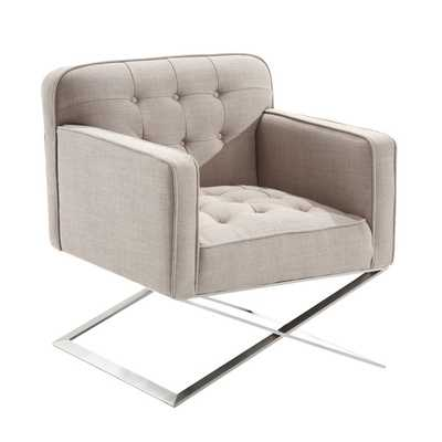Armen Living Chilton Modern Chair In Grey Fabric and Steel Finish - Overstock