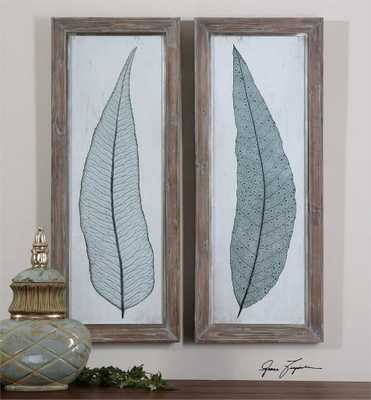 Tall Leaves, S/2-16 W X 40 H X 2 D-With Frame-No Mat - Hudsonhill Foundry