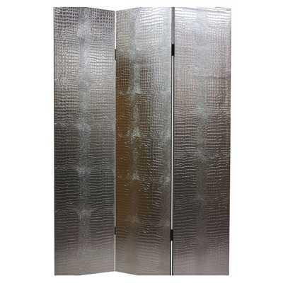 "70.88"" x 47.25"" 3 Panel Room Divider - Faux Leather Crocodile - AllModern"