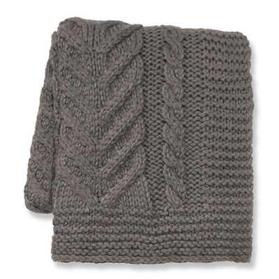 Hand Knit Chunky Braided Throw, Gray - Williams Sonoma Home