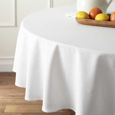 """Abode White 90"""" Round Tablecloth - Crate and Barrel"""
