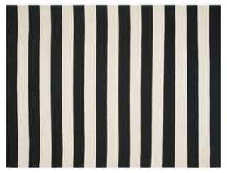 Ada Flat-Weave Rug, Black/Ivory - 8x10 - One Kings Lane