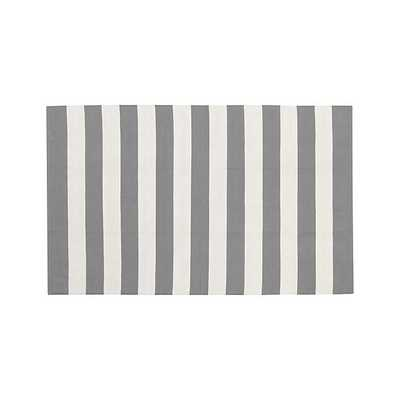 Olin Grey Striped Cotton Dhurrie Rug - Crate and Barrel