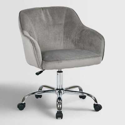 Gray Velvet Jozy Home Office Chair - World Market/Cost Plus