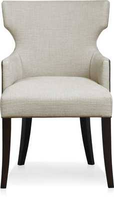 Sasha Upholstered Dining Arm Chair with Leather Welt - Ivory - Crate and Barrel