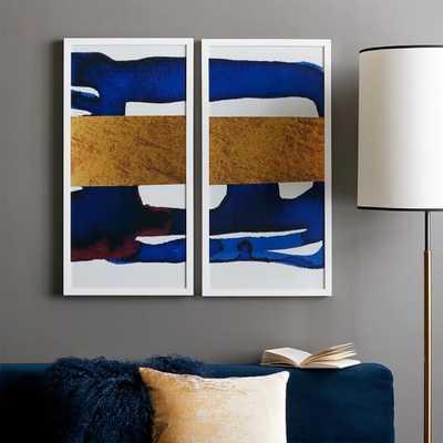 The Arts Capsule Ink Diptych - Indigo Horizon Prints 1 + 2 - West Elm