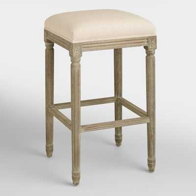 Natural Linen Paige Backless Barstool - World Market/Cost Plus