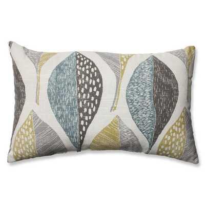 "Woodblock Leaf Rain Cotton Throw Pillow - 11.5"" H x 18.5"" W x 5"" D - insert - AllModern"