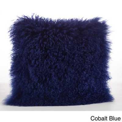 """Mongolian Lamb Fur Throw Pillow-Cobalt blue- 16""""x16""""- Polyester fill insert - Overstock"""