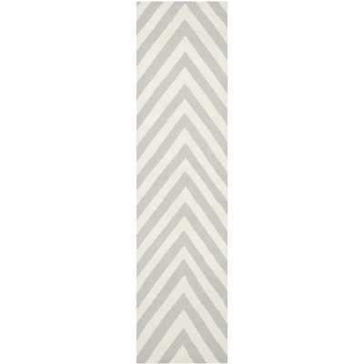 Safavieh Hand-woven Reversible Dhurries Grey/ Ivory Wool Rug (2'6 x 12') - Overstock