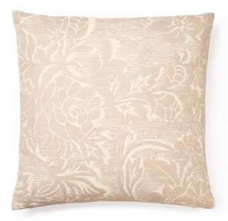 Blossom 16x16 Linen Pillow, Cream, insert, down/feather - One Kings Lane