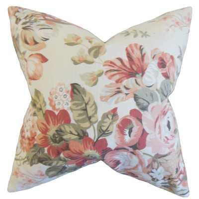 "Quela Floral Throw Pillow - Blush - 18"" - Down/Feather - Wayfair"