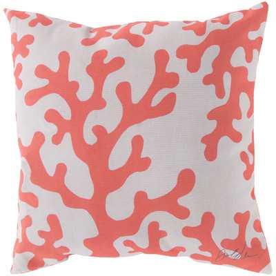 "Bethany Coral Throw Pillow-18"" x 18"" -Polystyrene fill - Wayfair"