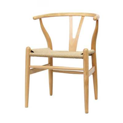 Wood Chair with Hemp Seat - Overstock