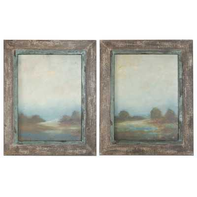 "Morning Vistas 2 Piece Framed Original Painting Set 31.13"" H x 50"" W (wood) - Wayfair"
