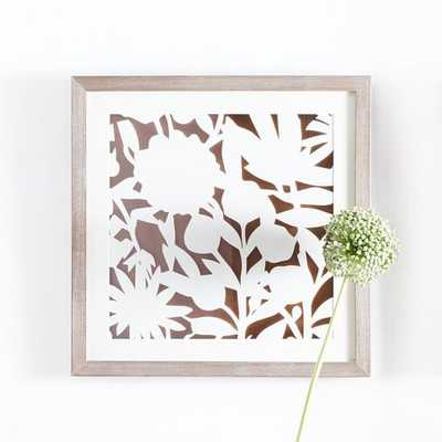 Modern Paper Cut Out Wall Art - Flower - 24x24 - Framed - West Elm