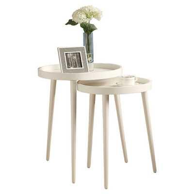 Deltha 2 Piece Nesting Table Set - White - Wayfair