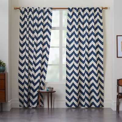 "Cotton Canvas Zigzag Curtain - Blue Lagoon- 84""l x 48""w - West Elm"