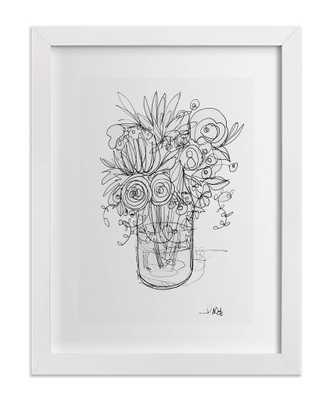 """Sketchbook Bouquet II - 18"""" x 24"""" - Framed - Domino"""
