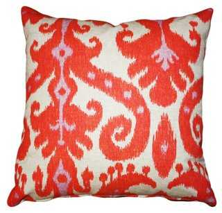 Ikat 20x20 Cotton-Blend Pillow, Coral - One Kings Lane