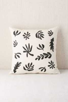 """Assembly Home Embroidered Botanical Pillow-White/Black- 18"""" x 18"""" - Urban Outfitters"""