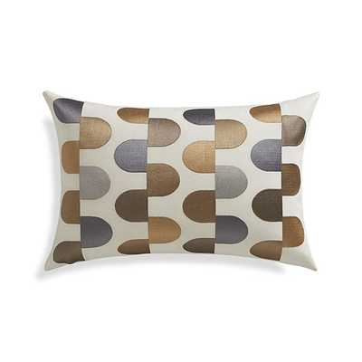 "Sosa 18""x12"" Silky metallics/white Pillow with Feather-Down Insert - Crate and Barrel"