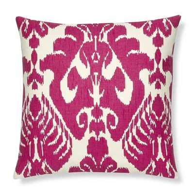 """Silk Ikat Medallion 20"""" x 20"""" Pillow Cover, Rasberry - Without insert - Williams Sonoma Home"""