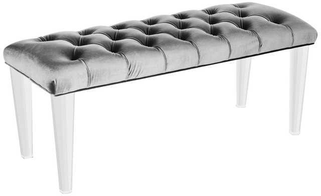 Glamour Hand-Tufted Gray Velvet Bench - Lamps Plus