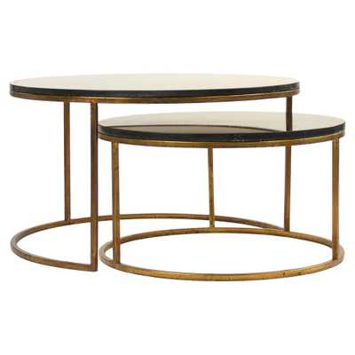 Leona Modern Black Polish Antique Gold Nest Coffee Tables - Kathy Kuo Home