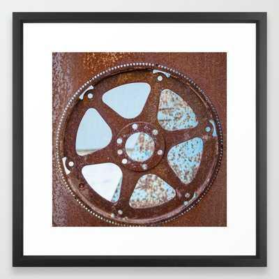 Rusted: gear - FRAMED ART PRINT VECTOR BLACK MEDIUM (GALLERY) - Society6