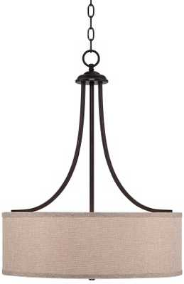 La Pointe Oatmeal Linen Shade Pendant Light - Lamps Plus