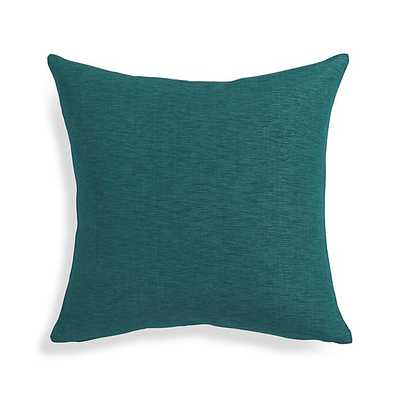 """Linden Peacock Blue 18"""" Pillow with Feather-Down Insert - Crate and Barrel"""