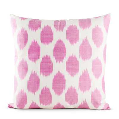 "Fuchsia Spotted Silk Pillow-18"" SQ-Down Insert - Furbish Studio"