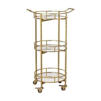 Sterling Gold Leaf Bar Cart - Overstock