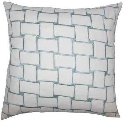 "Kalyca Geometric Pillow Aqua - 18"" x 18"" - Polyester Insert - Linen & Seam"