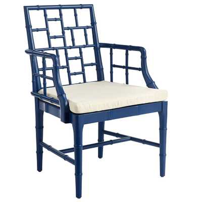 Chinese Chippendale Chair -Navy - Wisteria