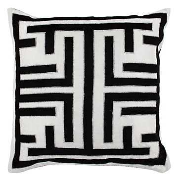 "Labyrinth Pillow 22"" - Black/White - With insert - Z Gallerie"
