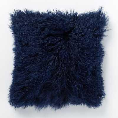 """Mongolian Lamb Pillow Cover - Velvet Ink (16"""")- No Insert - West Elm"""