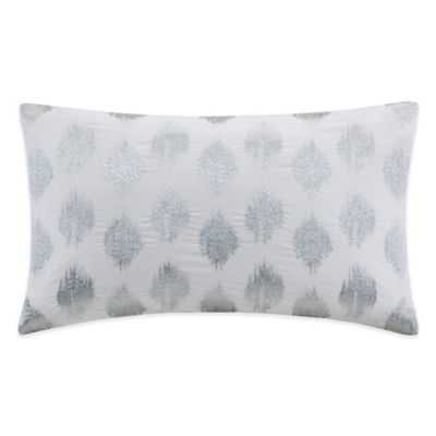 """INK+IVY Nadia Dot Embroidered Oblong Throw Pillow in Silver- 12"""" W x 18"""" L - Polyester fill - Bed Bath & Beyond"""